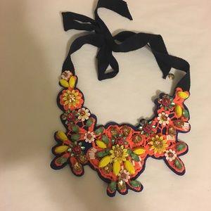 J Crew🍉 Neon fabric backed bib necklace